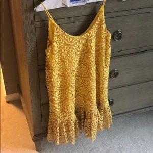 Alexis Yellow floral embroidered dress XS